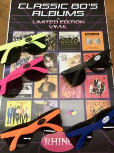 Get free sunglasses with purchase of 80's vinyl limited edtion new releases from Rhino